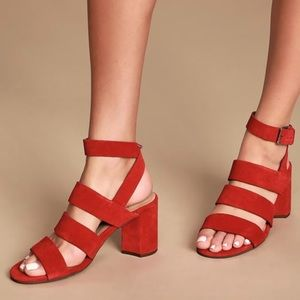 Seychelles Antiques Red Suede Leather High Sandals